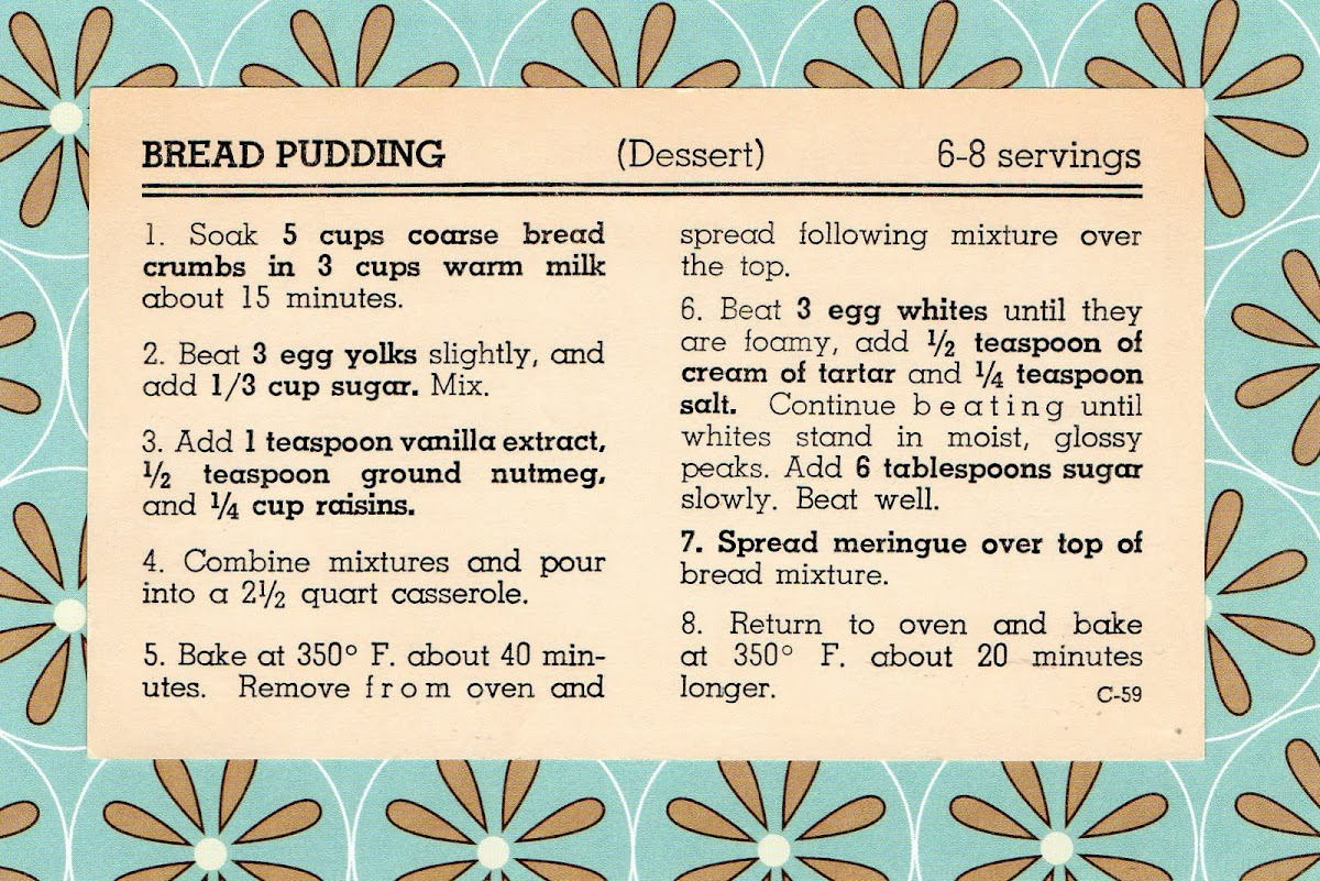 Bread Pudding (quick recipe)