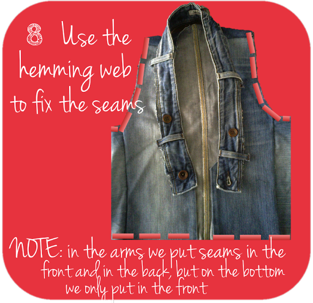 use the hemming web to fix the seams. Note: in the arms we put seams n teh front and in the back, but on the bottom we only put in front
