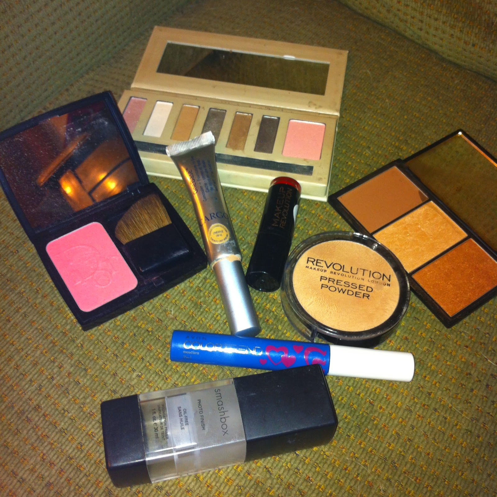 Barry M Eyeshadow, Make Up Revolution Lipstick, Makeup Revolution Pressed Powder, Dior Blush, Smashbox Primer