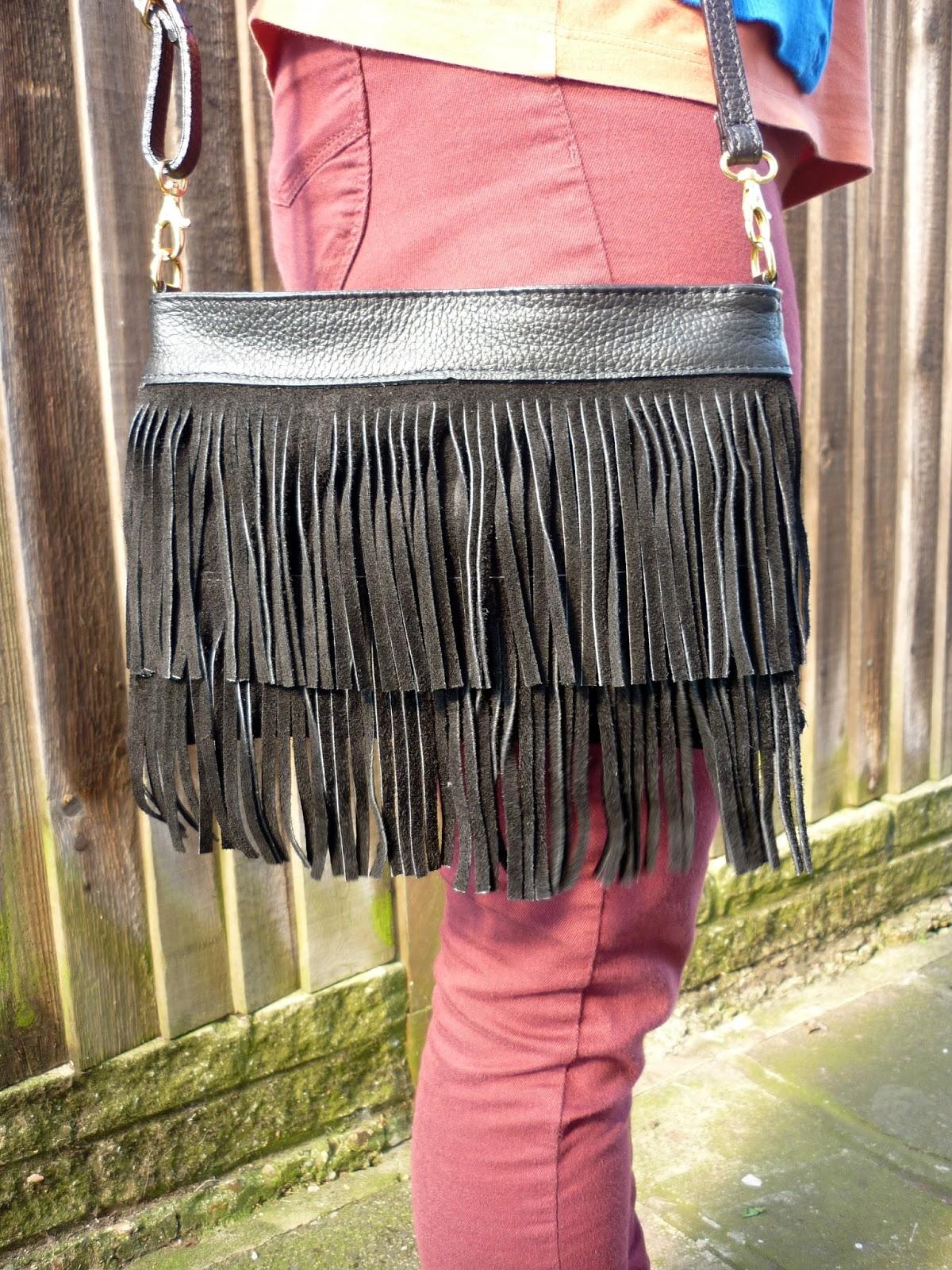 Black Fringe Suede Bag  | Petite Silver Vixen