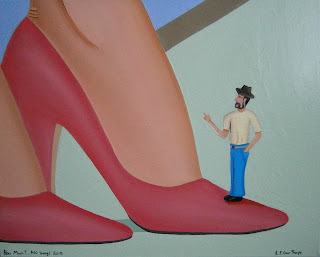 A small shrunken man standing on a woman's high heels