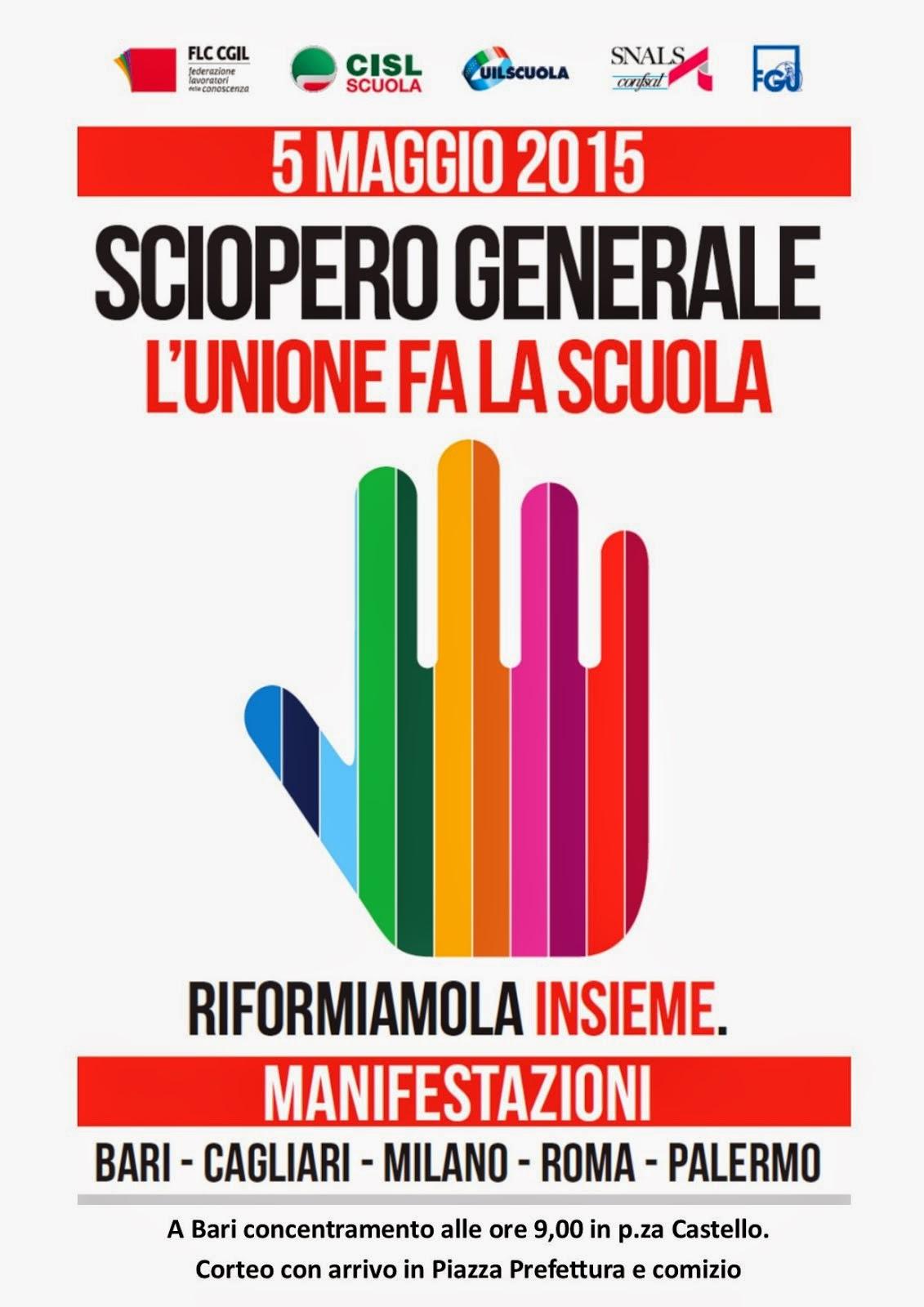 5 Maggio: sciopero generale dei lavoratori della scuola