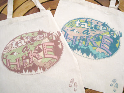 Cotton bags containing the slogan 'take a hike'