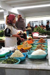 korean kimchi stall at uzbek market