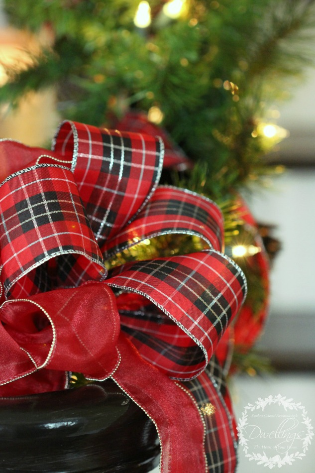plaid christmas ribbon on the banister