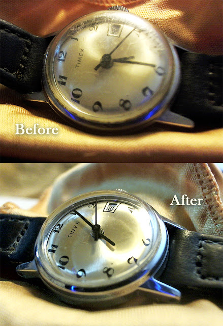 Before and After photo of watch with scratches and polished with Turtle Wax Swirl & Scratch remover