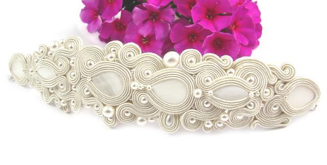 Bransoleta do ślubu sutasz z perłami