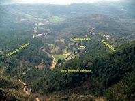 El conjunt de Valldaura situat al sud de la Serra de Campdeparets