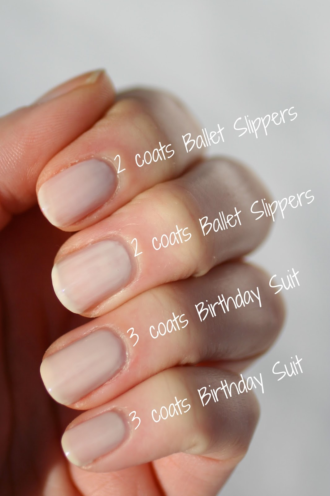 Essie Sheer Nude Comparison : Ballet Slippers, Birthday Suit, Limo ...