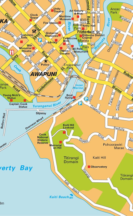 Mapa do centro de Gisborne - Nova Zelândia