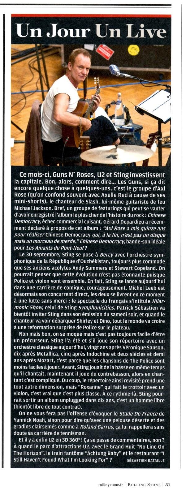 Sting, Sébastien Bataille, concert U2, Chinese democracy, Axl Rose, Guns N'Roses, Sting acoustic, Sebastien Bataille, Sébastien Bataille Rolling Stone, U2 360°