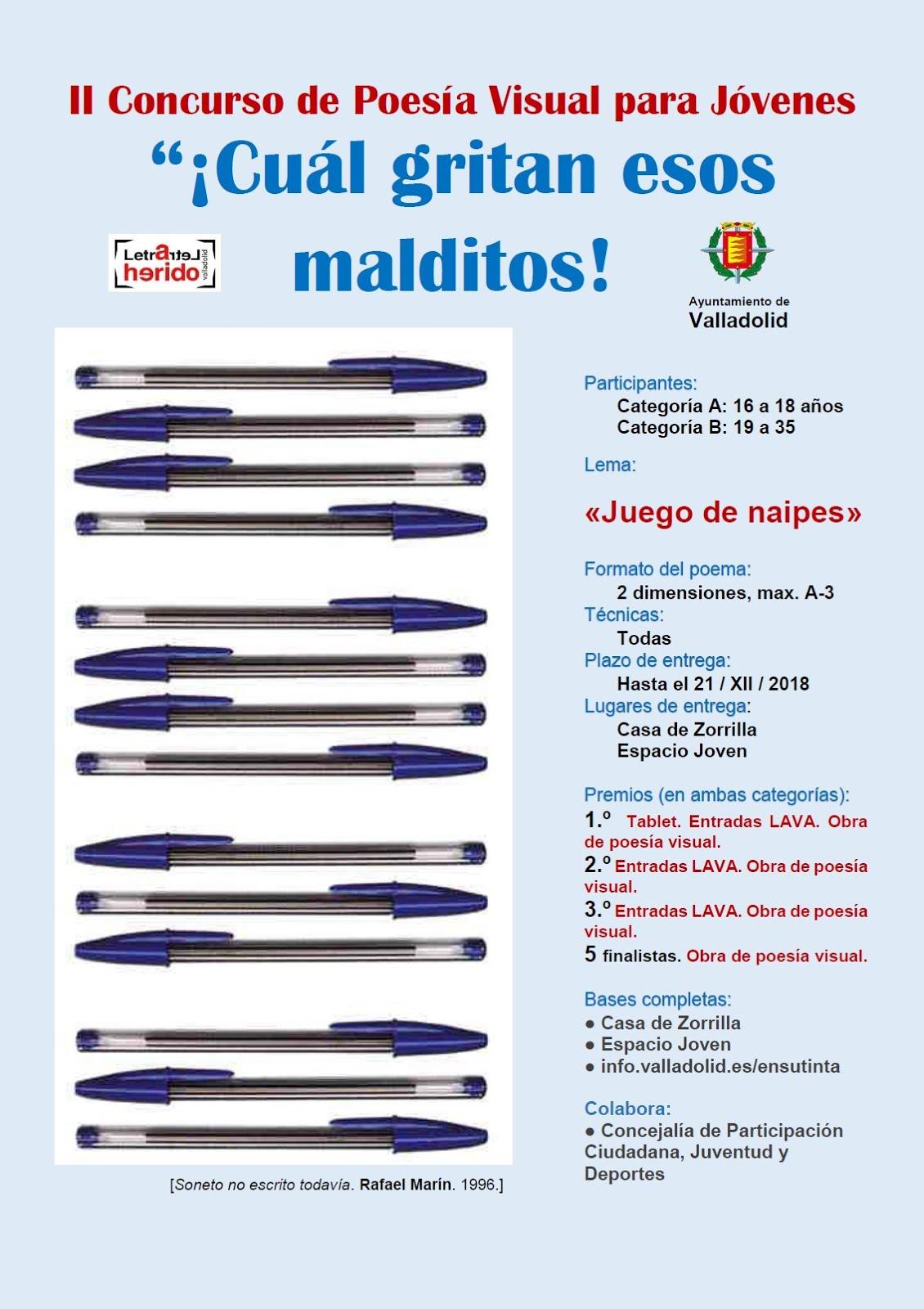 Concurso de poesía visual para jóvenes. Valladolid Letraherido