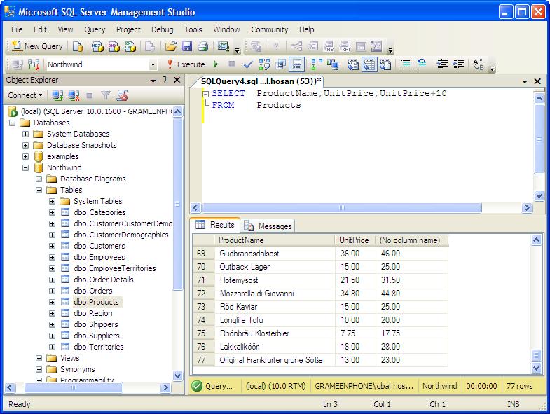 examples: Arithmetic Operators in MSSQL Tutorial