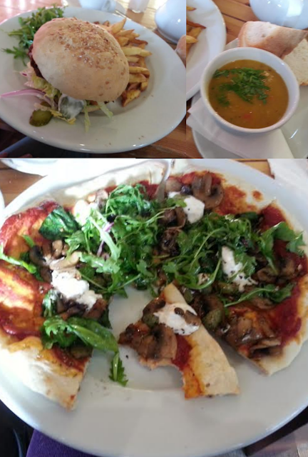 vegan pizza, vegan burger, seitan burger, vegan soup, butternut-squash soup, vegan lunch
