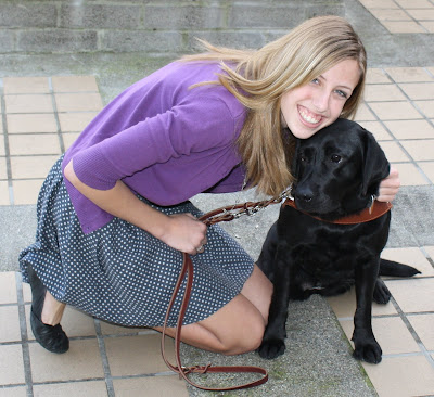 Paige and black Lab Guide Dog Phoebe