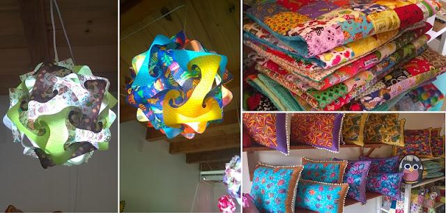 Casal 20: luminárias, colchas e almofadas em patchwork