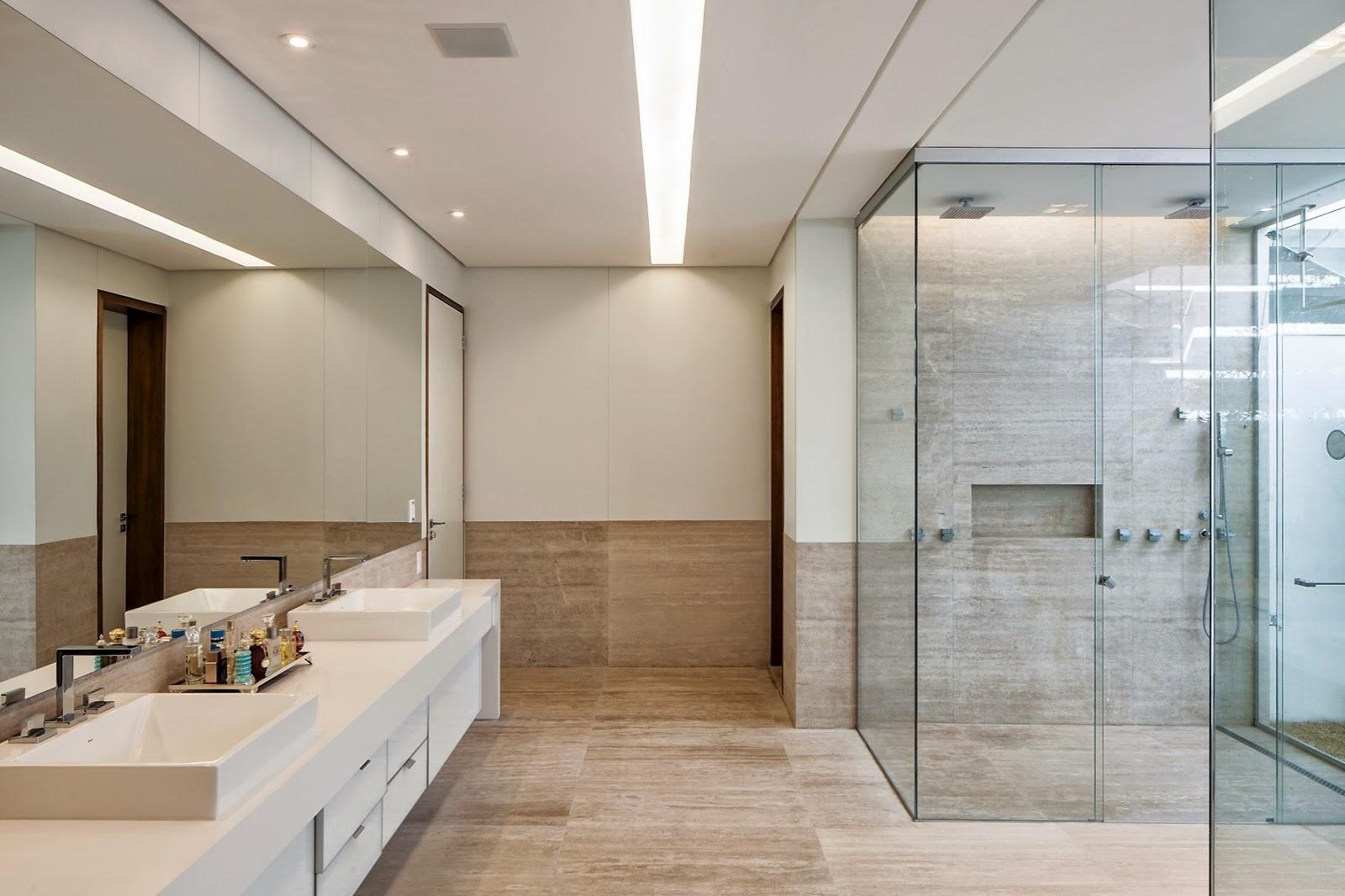 do box que contém nicho escavado super tendência nos banheiros #301F13 1600x1066 Armario Banheiro De Embutir