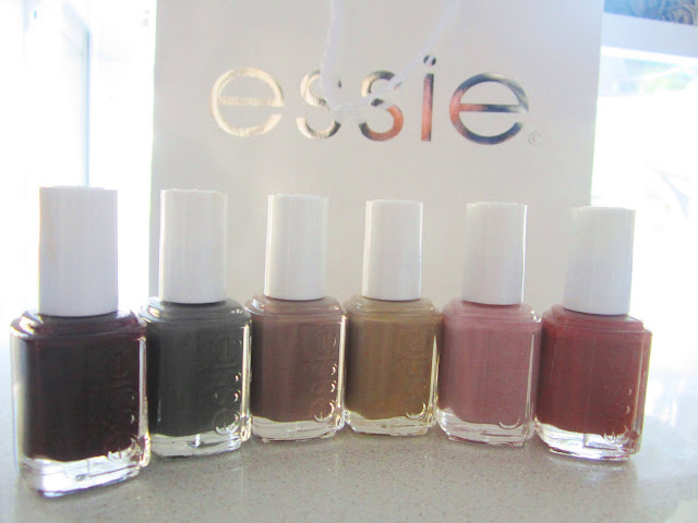 Essie's Fall 2011 line of nail polish in Cary On, Power Clutch, Glamour Purse, Case Study, and Lady Like
