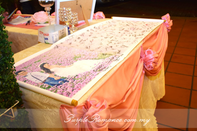 Wedding decoration at harmony banquet restaurant puchong purple wedding decoration malaysia stage backdrop photo booth reception table photo album table junglespirit Images