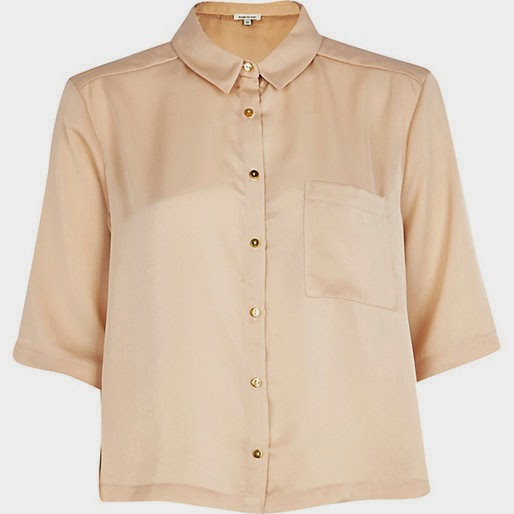 beige cropped shirt