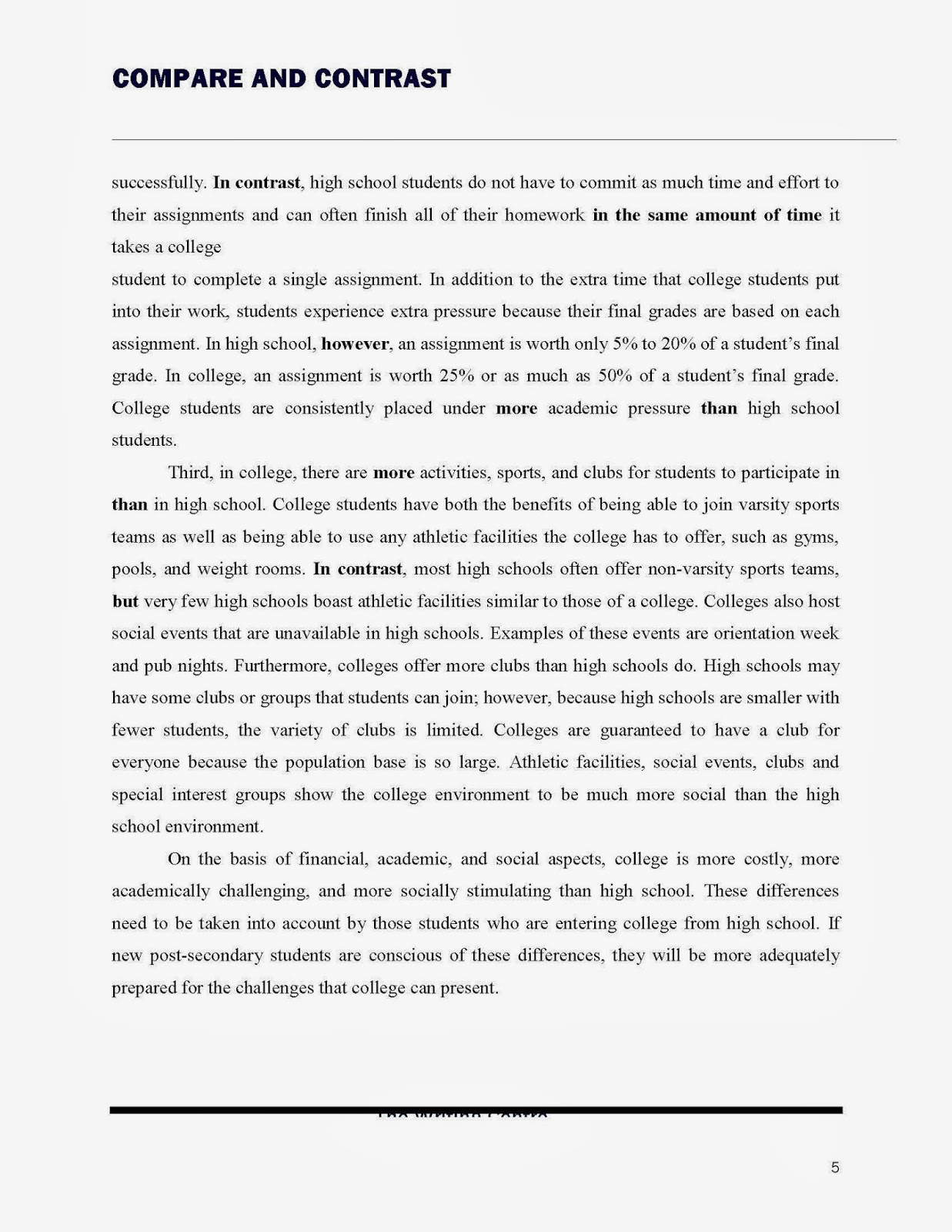College Essay Thesis Essay With Thesis Statement Example With  High School Vs College Essay Compare And Contrast Differences Essay On The  Giver By Lois Lowry