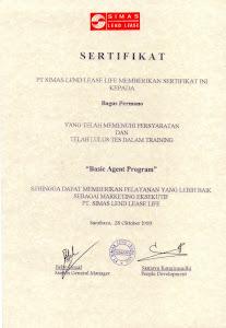Piagam dari PT Simas LEnd Lease Life Surabaya Jawa Timur