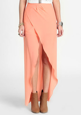 Citrus Splash Maxi Skirt, peach maxi skirt, hi low skirt, maxi skirt