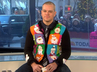 Matt Damon, today show, santa claus, christmas, vest, bald head