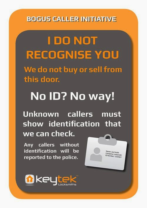 Deter a burglar or rogue trader with our No ID No way sign.