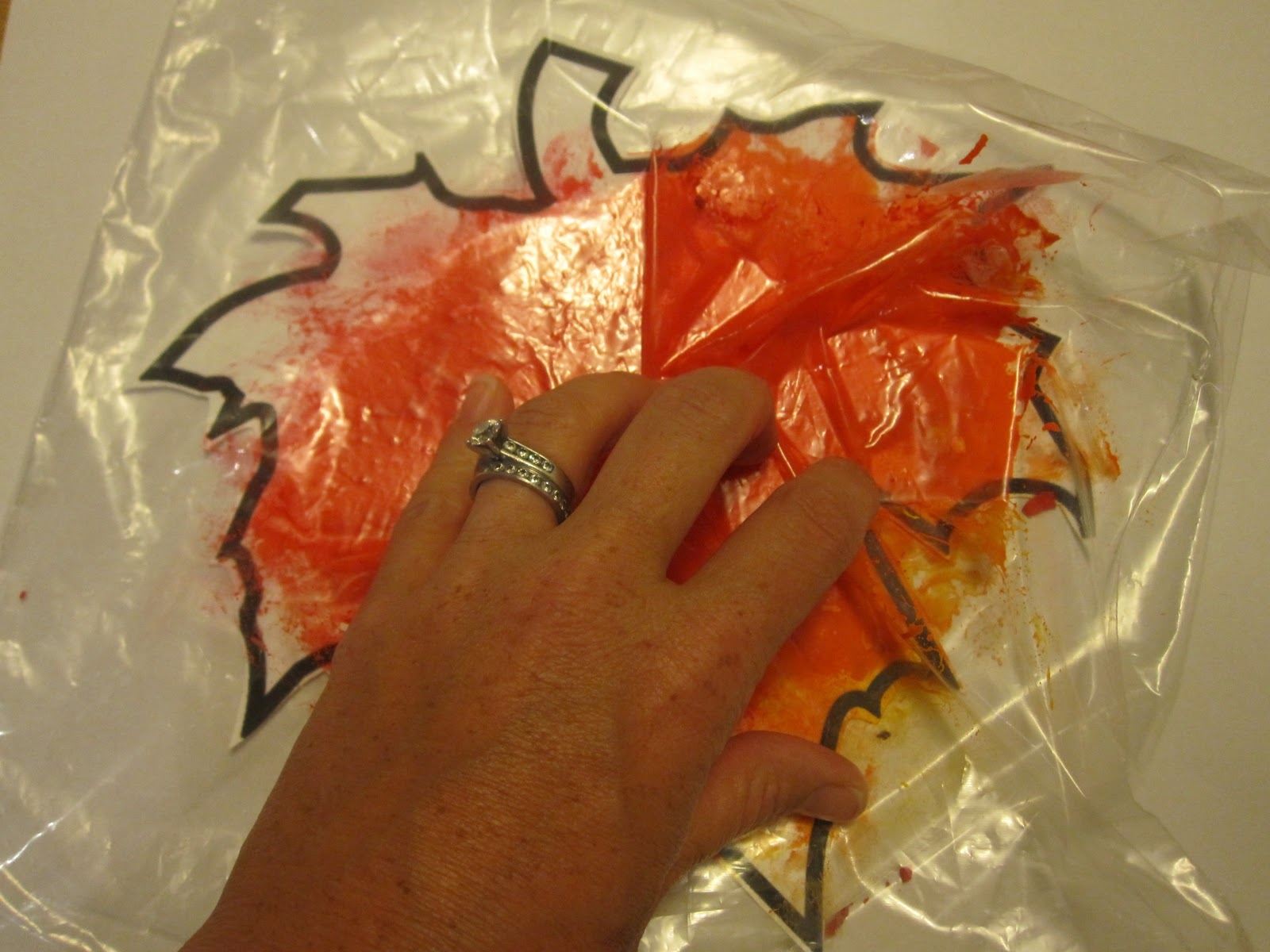 Fall Leaf Painting In Baggies