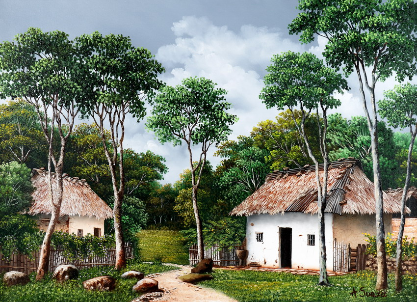 Cuadros modernos pinturas y dibujos pinturas colombianas - Cuadros de casas de campo ...