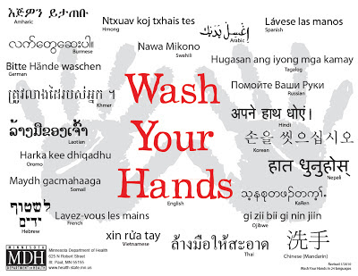 """Wash Your Hands"" poster in 24 launguages, courtesy the Minnesota Department of Health"