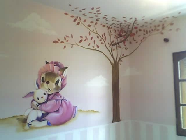 Decoracion en muros aerografia dibujo y pintura pintura - Pinturas habitacion infantil ...
