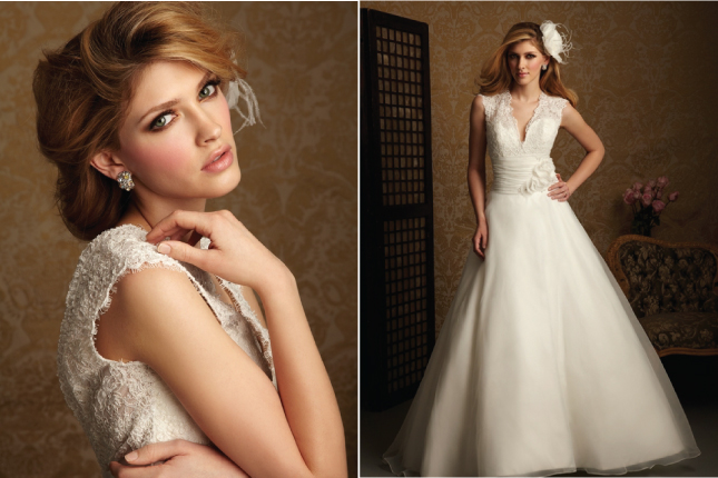 A romantic Aline gown featuring lace and organza