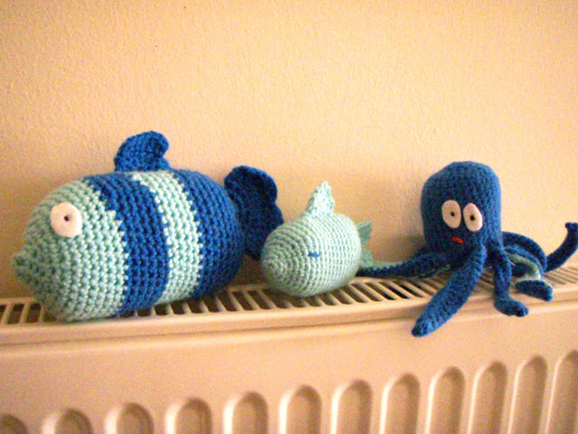blue crochet fish and octopus funny plush toy