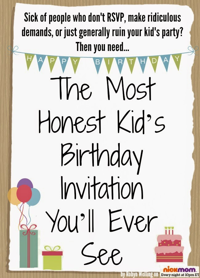 Honest Kid's Birthday Invitation by Robyn Welling @RobynHTV