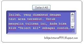 "Cara Membuat Text Area dengan Tombol ""Select All"""