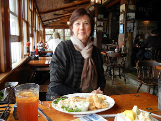 Huge plate of fish and chips at the Black Dog Tavern