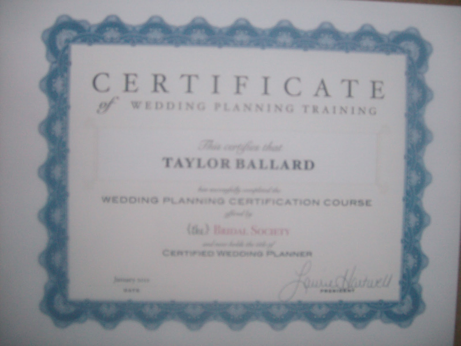 Taylor brione becomes a certified wedding planner certified wedding planner 1betcityfo Images