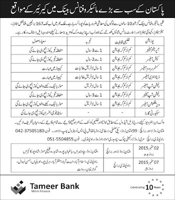 New Jobs in Tameer Bank for Freshers