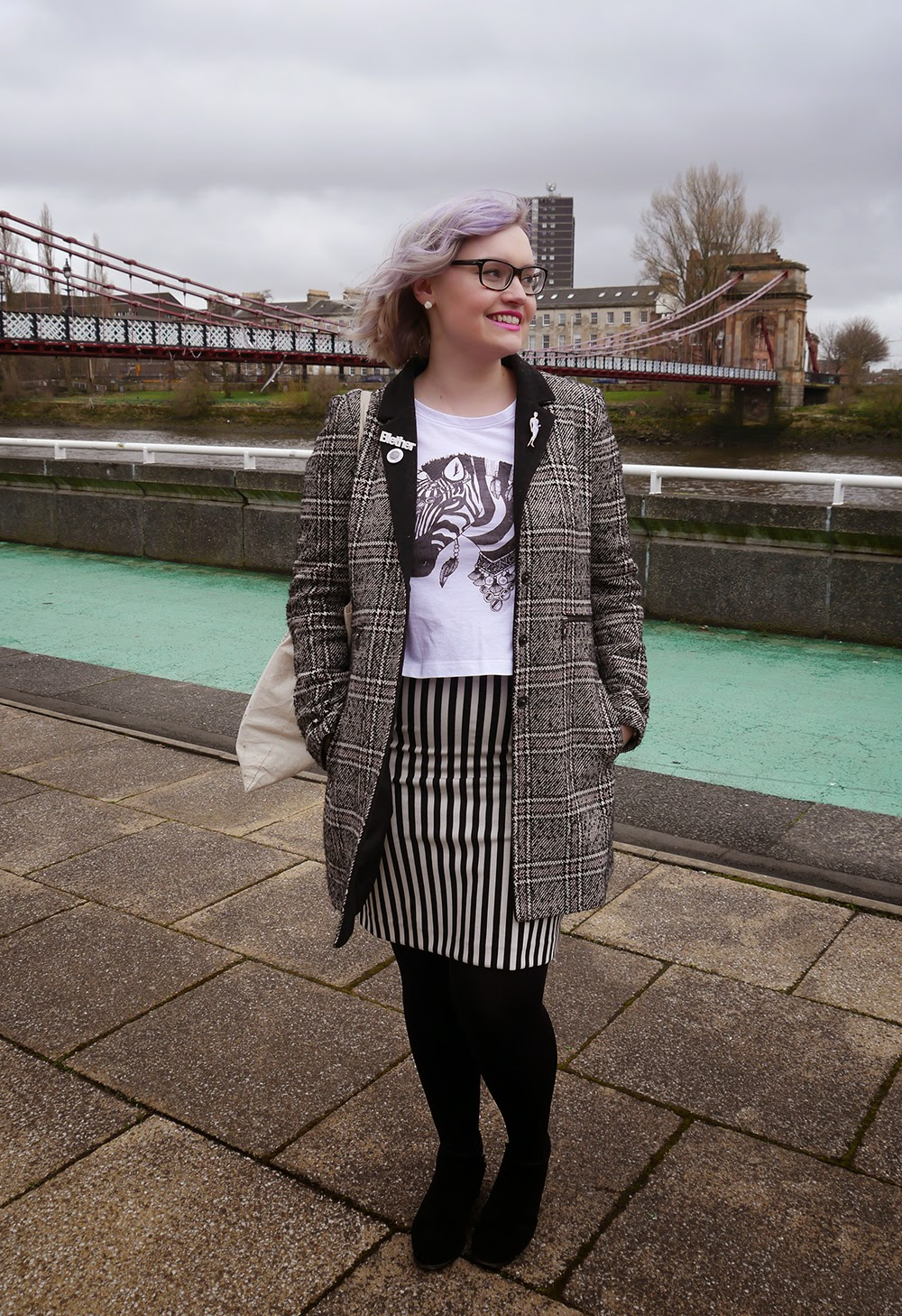Glasgow, merchant city, the Clyde, plaid, Scottish blogger, style blog, blether, violet hair, purple hair, how to, stripes, monochrome, GirlGang