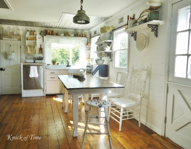 Farmhouse Kitchen Remodel with Salvaged Vintage Materials - www.KnickofTime.net