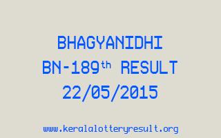 BHAGYANIDHI BN 189 Lottery Result 22-5-2015