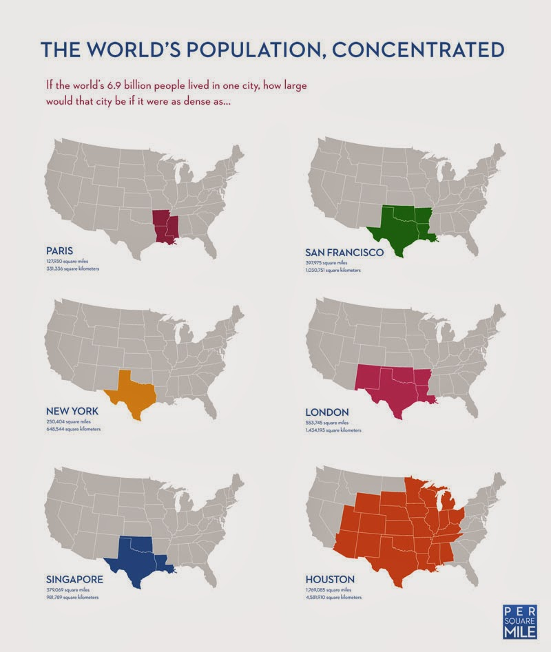 40 Maps That Will Help You Make Sense of the World - If the World's Population Lived in One City