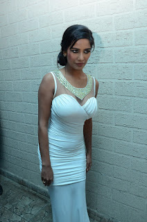 Poonam Pandey in Spicy White Deep Neck Gown