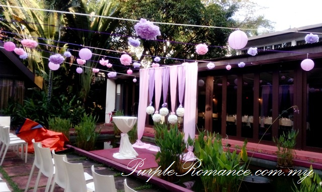 Photo Album Table Decoration, outdoor, pom pom flowers, paper lanterns, honey comb, kuala lumpur, Rama V Fine Thai Cuisine, USA embassy, fairy lights, modern, elegant, sweet, purple, pink, satin, floral, flower, stage backdrop, photo booth, indoor, outdoor, western