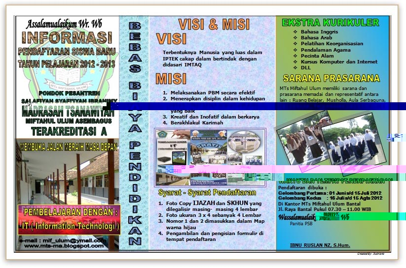 BROSUR MTs - MA & Formulir Pendaftaran Siswa Baru 2012-2013