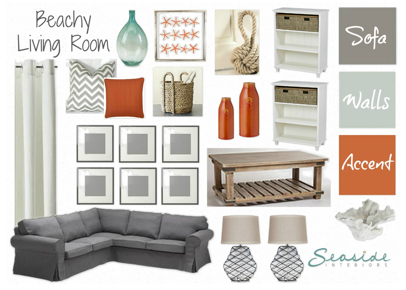 Seaside Interiors: Beachy Living Room with grays and orange!!!