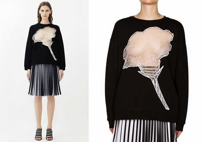 c.f Christopher Kane 2014 SS Sequin Carnation Cotton-Blend Sweatshirt