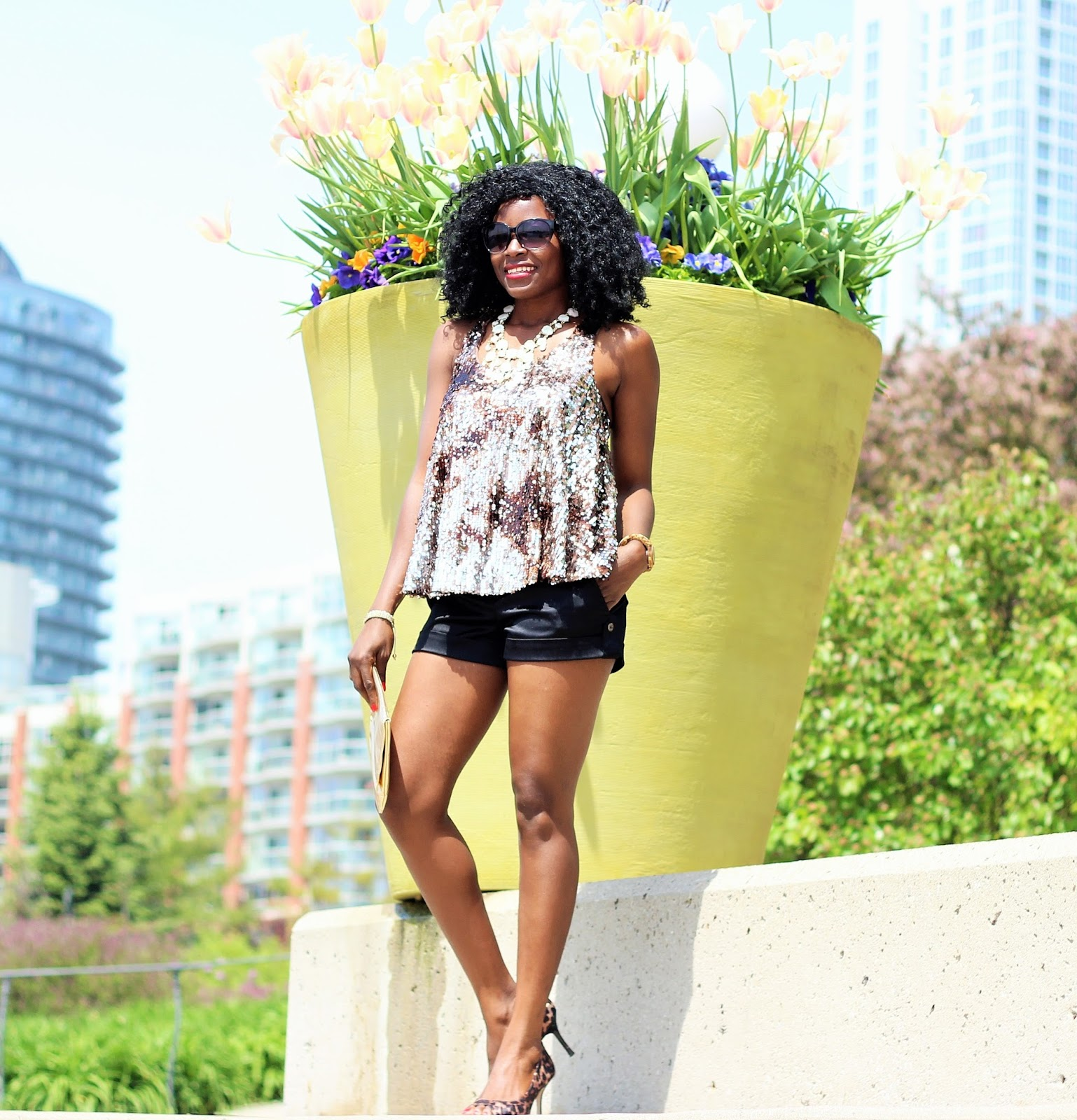 Forever 21 Sequin Top x Express Satin Shorts x Le Chateau Heels x Jord Wood Watch (Cora Series)